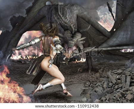 Stock Photo Dragon Slayer, female sexy warrior engaged with an ancient winged fire breathing dragon.