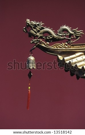 Dragon statue in a Singapore Chinese temple