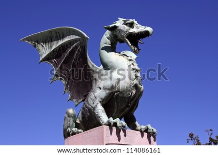 Dragon statue on Dragon bridge in Ljubljana, Slovenia. Dragon statue.