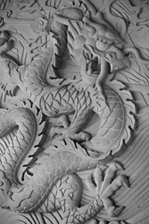 Dragon statue on the wall