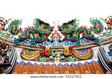 dragon statue on white backgrounds