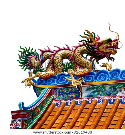 dragon statue on white backgrounds - stock photo