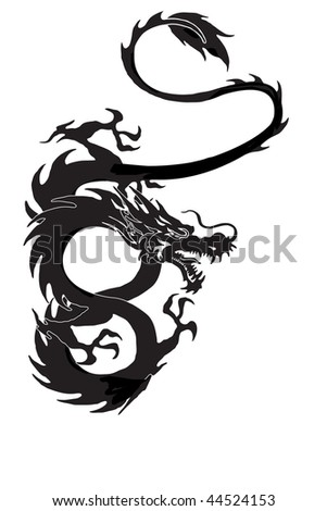Dragon  symbol vector illustration isolated on white background. Cool tattoo