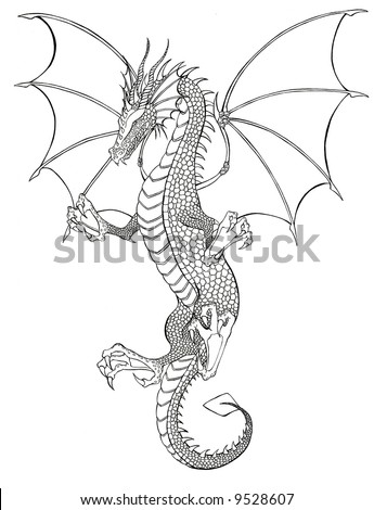 stock photo : Dragon Tattoo black and white