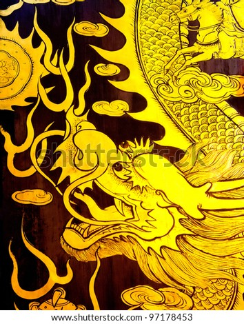 dragon wall painting gold color