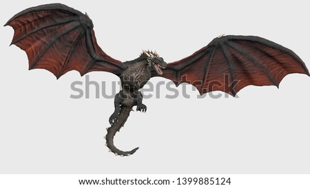 Dragon with fully opend wings hanging in air white background isolated 3d illustration