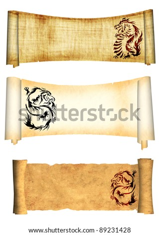 Dragons. Collection of scrolls old parchments. Objects isolated over white
