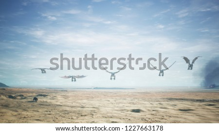 Dragons flying over vast desert. 3D Rendering #1227663178