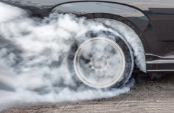 Dragster Car Burn Out Rear Tyre With Smoke