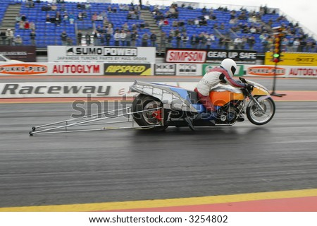 Dragster racing bike at Santa Pod Raceway, UK