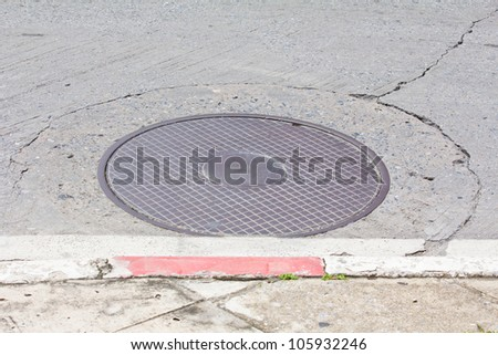 Drain cover on the road.