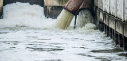 Drain make the foam on dirty water surface
