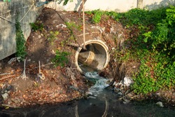 drain pipe or effluent or sewer release wastewater into river. Sewage or domestic waste water or municipal waste water that is product by community of people. wastewater is any water that has been use