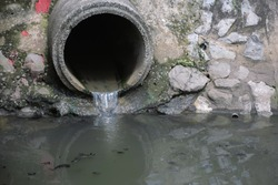 drain pipe or effluent or sewer release wastewater into river. Sewage or domestic wastewater or municipal wastewater that is product by community of people. waste water is any water that has been use