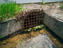 Drainage sewer pipe under road for draining sewage or rainwater
