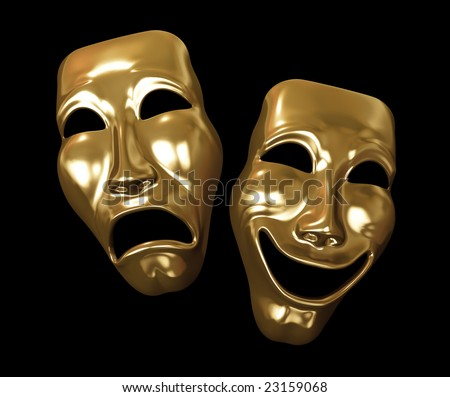 Drama and Comedy Masks on Black - stock photo