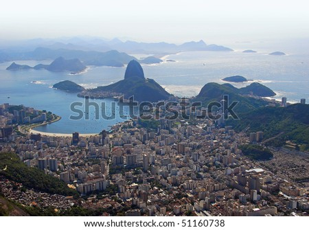Dramatic aerial view looking back at Rio De Janeiro