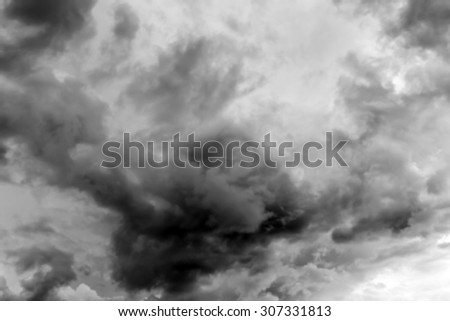 Dramatic and dark sky with storm clouds.Blur or Defocus image.
