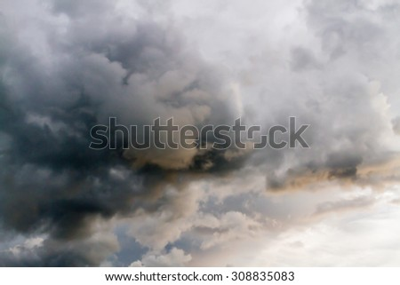 Dramatic and dark sky with storm clouds.Blur or Defocus image