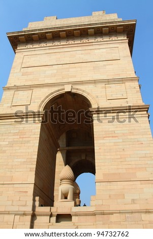 Dramatic angle view of the India Gate monument in New Delhi, India.