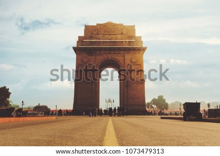 Dramatic angle view of the India Gate monument in New Delhi, India. A war memorial on Rajpath road #1073479313