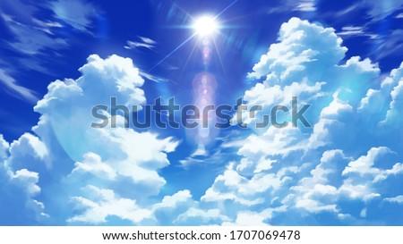 Dramatic Anime Clouds Wallpaper Illustration Background Landscape