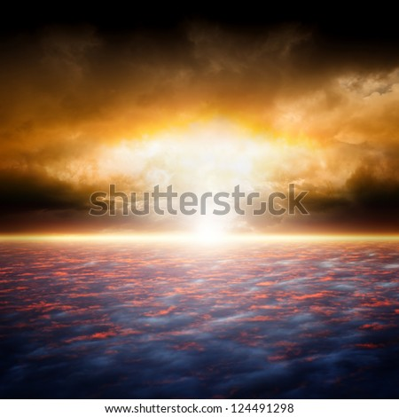 Dramatic apocalyptic background, end of world, red sunset, armageddon, hell, big explosion