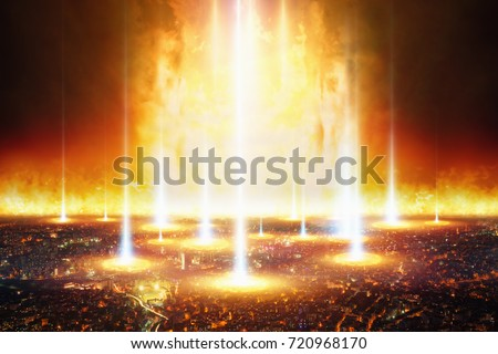 Dramatic apocalyptic background - judgment day, end of world, complete destruction of civilization and human race