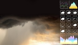 Dramatic atmosphere panorama aerial view of heavy raining and storm clouds with graph and chart fot meteorology presentation and report background.