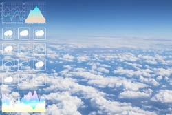 Dramatic atmosphere panorama image of buautiful cloudscape aerial view form aircraft with graph and chart presentation for meteorology forcast background.