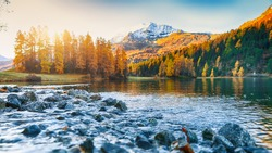 Dramatic autumn view of Champfer lake at sunset. Shallow depth of field. Location: Silvaplana, Maloya district, Engadine region, Grisons canton, Switzerland, Europe.