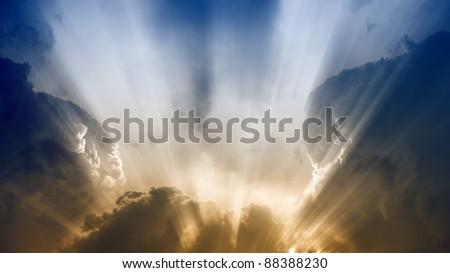 Dramatic background - bright sunlight, dark clouds