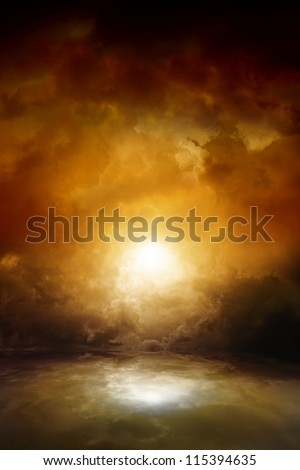 Dramatic background - dark moody sky, bright sun with reflection in water. Armageddon, apocalypse, hell.