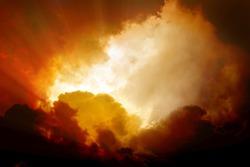 Dramatic background - dark orange sky and clouds, armageddon, hell