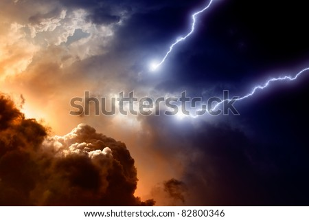 Dramatic background - dark sky and clouds with two lightnings, hell, armageddon
