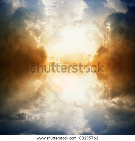 Dramatic background - dark sky, bright light, reflection in water