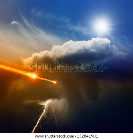Dramatic background - lightning in dark stormy sky, sun shines from above,  asteroid, meteorite impact