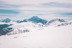 Dramatic background of mountains in winter season