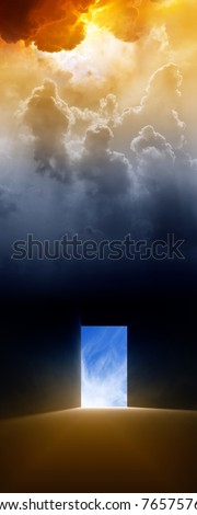 Dramatic background - open doorway, bright light from sky