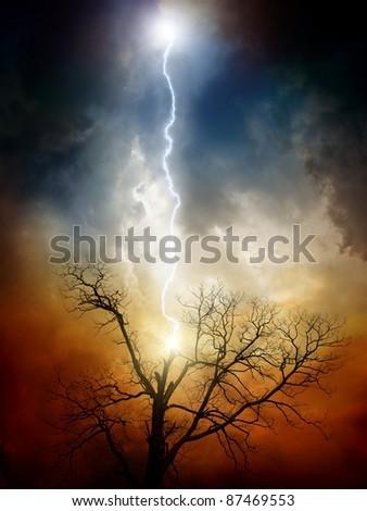 Dramatic background - tree struck by lightning from dark sky