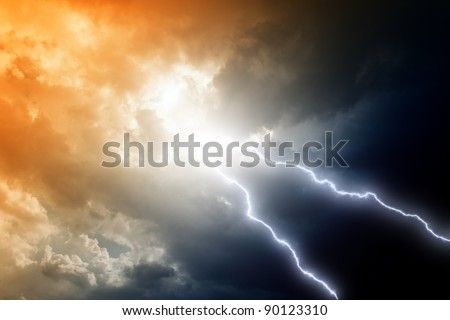 Dramatic background - two lightnings in dark stormy sky