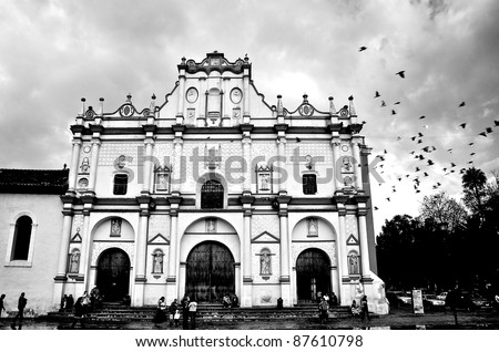 Dramatic black and white of Cathedral in San Cristobal, Mexico