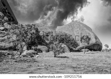 Dramatic black and white Sky above Australian Outback, Northern Territory