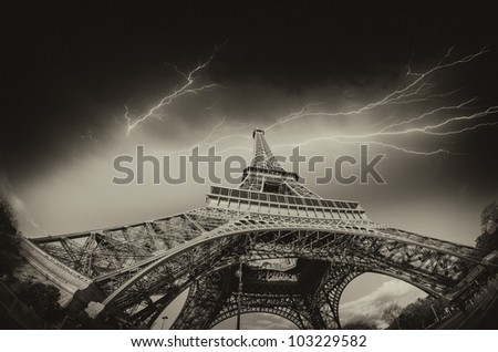 Dramatic Black and White view of Eiffel Tower in Paris