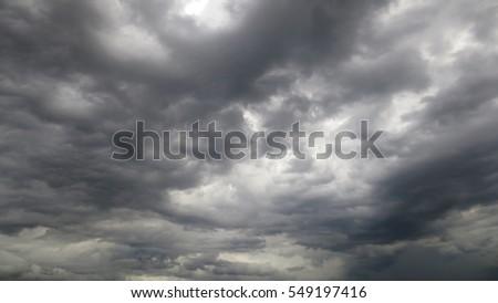 dramatic black cloud before rainy