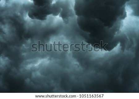 Dramatic black clouds and motion, Dark sky with thunderstorm before rainy