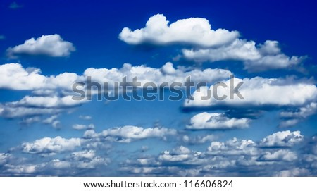 dramatic blue sky and clouds white and fluffy at sunset (sunrise) landscape