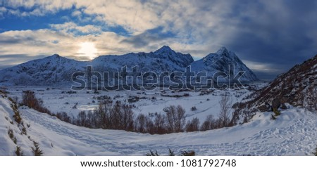 Dramatic, but beautiful sunset within the amazing winter landscape of the Lofoten Islands taken in February. #1081792748