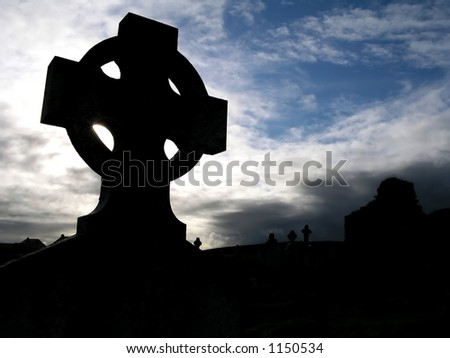 Dramatic celtic cross backlight, Ireland