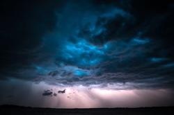 Dramatic clouds and lightning during a summer thunderstorm. Tartu, Estonia.